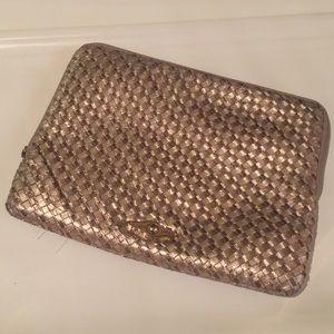 Elliott Lucca gold bronze woven leather iPad case